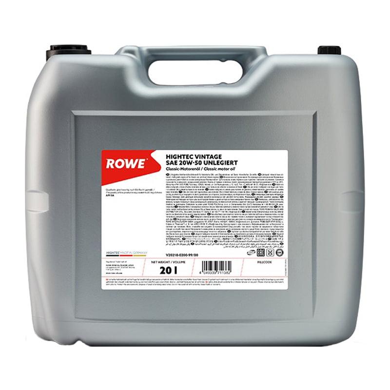 ROWE HIGHTEC VINTAGE SAE 20W-50 UNLEGIERT - 20 Liter